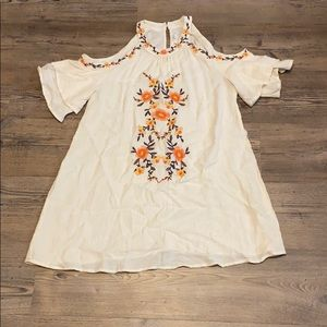Anthropologie Floral Embroidered  Mini Dress L